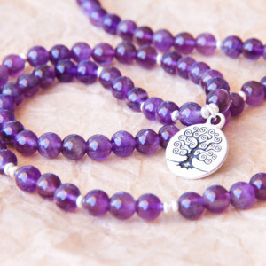 amethyst mala bracelet meditation gift Mother's Day