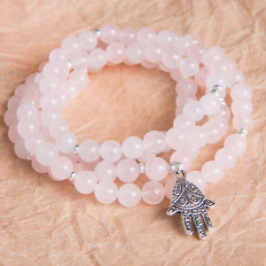 rose quartz meditation mala necklace