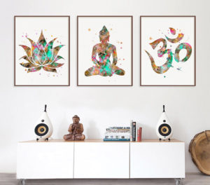 Buddha Watercolor Art Print Set Gift for Mom