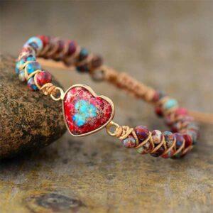 Galaxy Sea Sediment Jasper Heart Bracelet